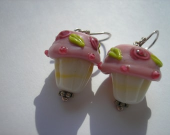 Pink Cupcake with Rose Accent Valentine Earrings