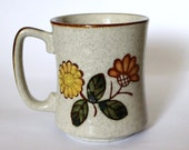 SALE Vtg 70s BOHO Coffee Mug Retro stoneware