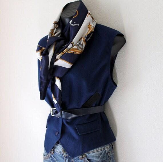 Vtg Pendleton Wool vest Fitted classic prep Blue