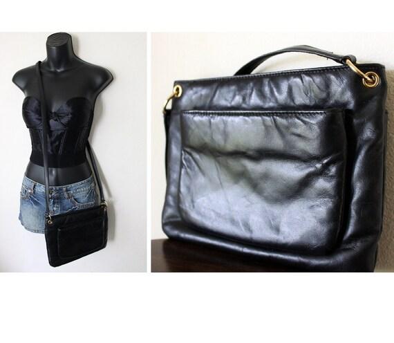 Vtg 80s 90s Soft Black leather Purse Cross body