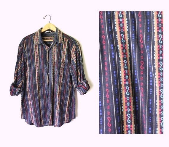 Vtg 90s Revival ethnic western striped men's Button up Shirt L