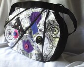 Recycled eco-friendly shoulder bag in black,blue and purple - Unique piece