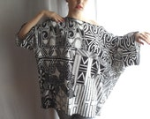 RESERVED for  ieattofu68  -   Black/white tribal tshirt oversized - Arm warmers included - Alexander Mcqueen fabric