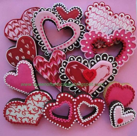 Mixed Heart Valentine Cookies Pink Red White 1 dozen