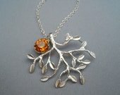 Silver Tree Pendant Sterling Silver Necklace with Topaz Swarovski Crystal