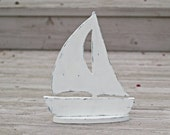 Beach Cottage Sailboat Shabby Home Decor Wood. Table top.