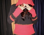 Blood on Stone Upcycled Fairy Elf Hoodie Hooded Shirt Top Recycled Tunic Sweater Eco Friendly