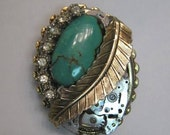 STEAMPUNK Neo Victorian Turquoise PENDANT BROOCH PIN Upcycled Watch Parts Redesigned Vintage Costume Jewelry Gothic