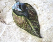 Leaf  Pendant Necklace Leaves Polymer Clay Jewelry Antique Patina OOAK Hand Sculpted