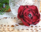 Red Flower Fascinator Hair Clip Gothic Bridal or Christmas Steampunk Wedding Accessories