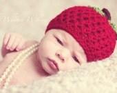 Newborn Photography Prop - Red Apple Hat