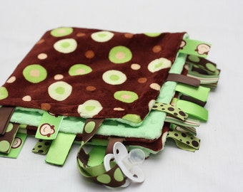 Minky Binky Blankie - Lots of Dots Green