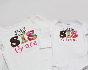 Big Sister Shirt and Little Sister Shirt - Personalized