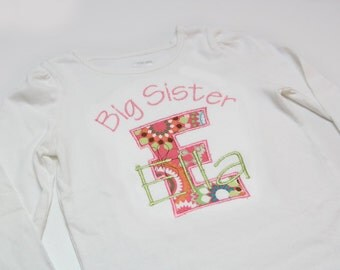 Big Sister Shirt, Little Sister Shirt - Personalized Initial Applique