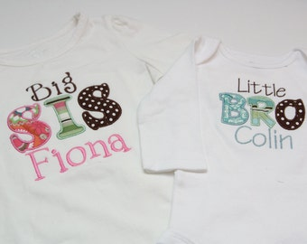Big Sister Shirt and Little Brother Bodysuit - PERSONALIZED - You choose Fabric