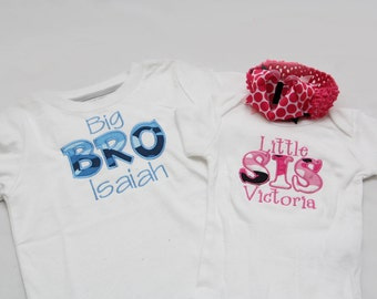 Big Brother Camo Shirt and Little Sister Camo Shirt with Matching Hairbow