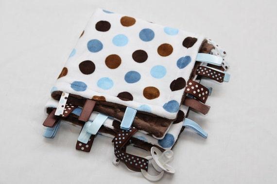 Baby Tag Ribbon Blanket - Minky Binky Blankie - Lots of Dots Blue