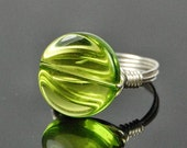 BOGO SALE- Peridot Colored Glass Bead and Sterling Silver Wire Wrap Ring
