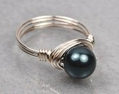 Wire Wrapped Ring- Sterling Silver with Tahitian Blue Swarovski Pearl- Any Size- Size 4, 5, 6, 7, 8, 9, 10, 11, 12, 13, 14