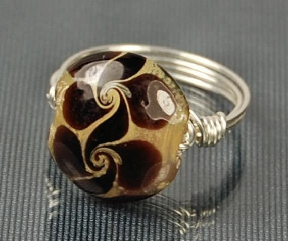 Handmade Sterling Silver Ring - Wire Wrapped with Earth Tone Lampwork Glass Bead- Any Size- Size 4, 5, 6, 7, 8, 9, 10, 11, 12, 13, 14