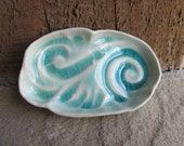 Aqua Blue Green Handmade Ceramic Trinket Dish with Ocean Waves or Windy Clouds in the Sky in Crackle Glaze, Art Pottery by Licia Lucas Pfadt