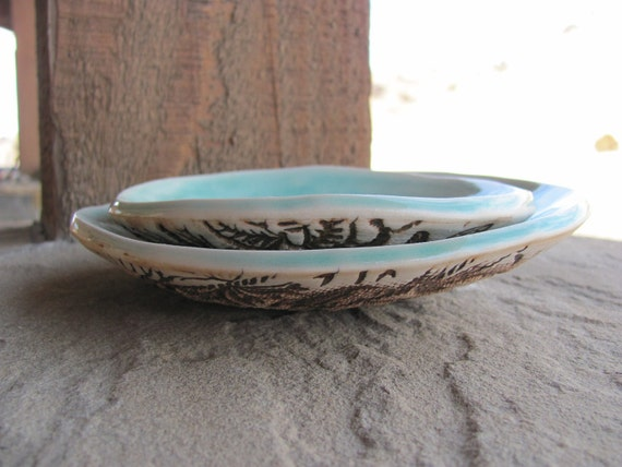 Two Handbuilt Porcelain Aqua Blue Nesting Dishes with Exterior Texture