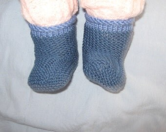 handknitted pair baby booties merino yarn 0-6mths