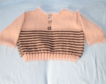handknitted pink and brown stripped sweater/jumper merino yarn 20/22in chest