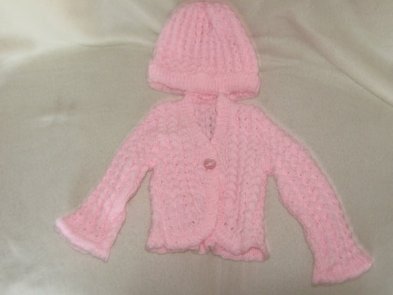 girls pink sweater and matching hat 18in chest 6-12mth old baby