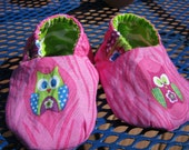 Reversible Doll Shoes, with Owls, Pink and Lime Green
