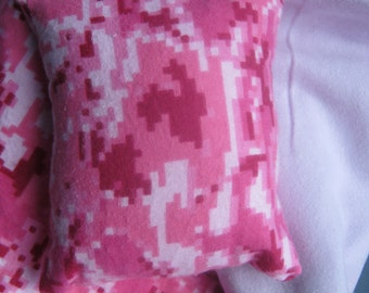18 Inch Doll Blanket and Pillow, Pink and Purple Reverslible Doll Bedding