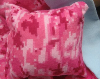 Doll Bedding, Pink and blue reversible blanket and pillow