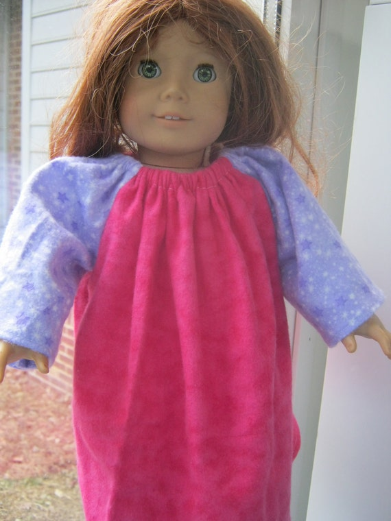American Girl Pajamas, pink and purple nightgown for 18 inch doll