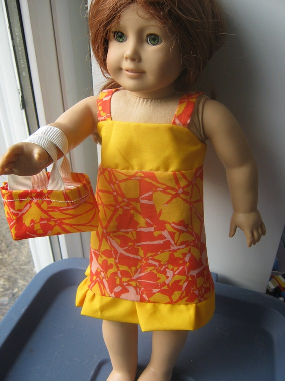 Girl 18 Inch Doll Clothes, Sunburst Dress and purse for 18 inch doll