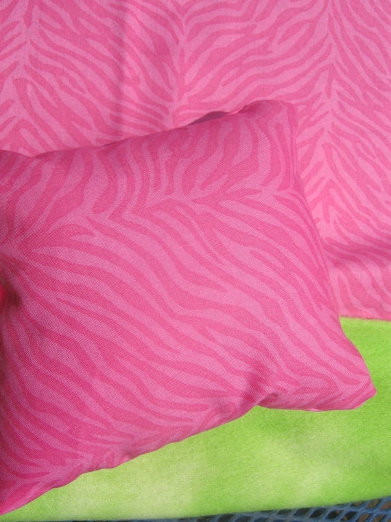 American Girl Doll Bedding, Pink and Lime Green Doll Blanket and Pillow
