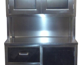 Industrial 1960s Stainless Steel Medical Cabinet