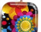 Bright Floral Glass Tile Pendant
