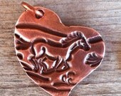 Artisan COPPER Running Horse Heart Pendant - 22 x 27mm
