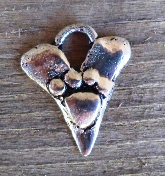 Artisan Sterling Silver HEART CHARM with Pawprint - 13 x 16mm