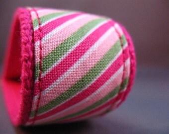 Fabric Keychain Fob -- Pink Stripe