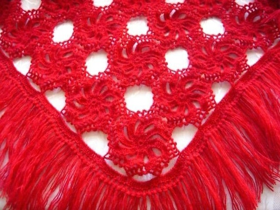 Handmade Red Shawl -  Gift Idea - Ready To Ship - Crochet Cowl