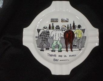 Vintage Japan LARGE Tilso Ceramic Humor Ashtray
