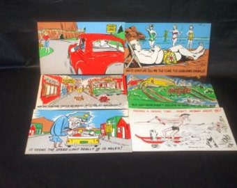 LOT Vintage Unused Highway Humor Fun Gad Poscards HUMOR