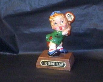 Vintage Japan Adorable Tennis Player Boy Figurine On Stand KREISS