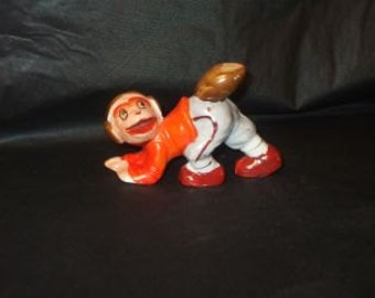 Vintage Japan Football Playing Monkey Ceramic Figurine FUNNY