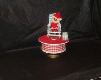 Vintage Japan Sprouse Reitz Santa Music Box In Original Box Movement