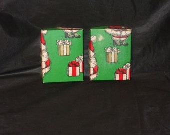 LOT 2 Vintage Christmas Empty Wrapped Gift Boxes Cardboard