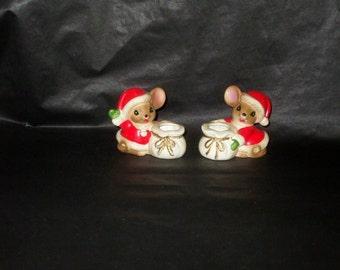 Vintage Japan NORCREST Christmas Santa Mouse Candle Holder Set