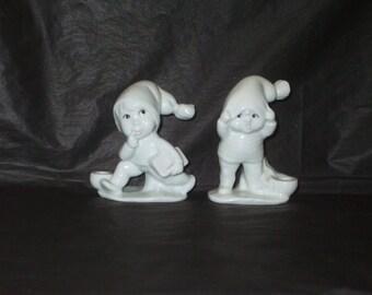Vintage Japan Winter Adorable Children Ceramic Candle Holder Set