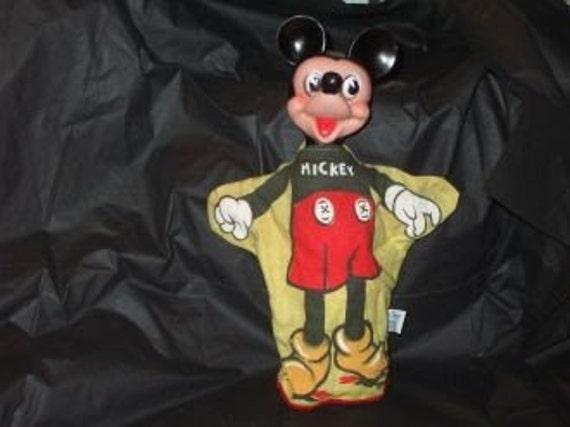 Vintage Walt Disney Gund Mickey Mouse Hand Puppet Rubber Head